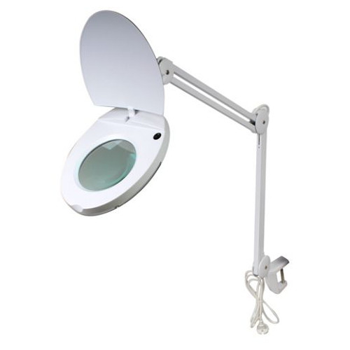 Byomic Loupe de table avec éclairage LED et pince blanc