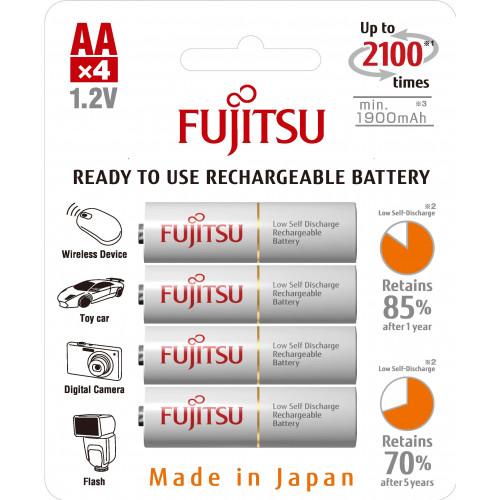 Fujitsu Blister 4 Piles Rechargeables AA - NiMh - 1900mAh