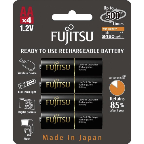 Fujitsu Blister 4 Piles Rechargeables AA - NiMh - High Capacity