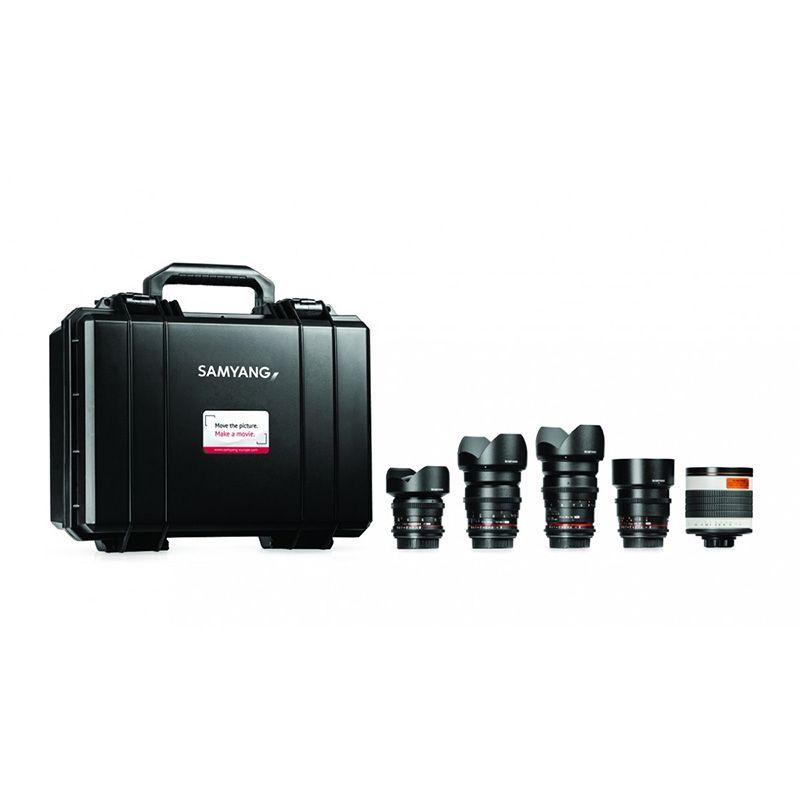 Samyang VDSLR Kit Cinéma 4 (14 mm, 24 mm, 35 mm, 85 mm, 500 mm) pour Sony A