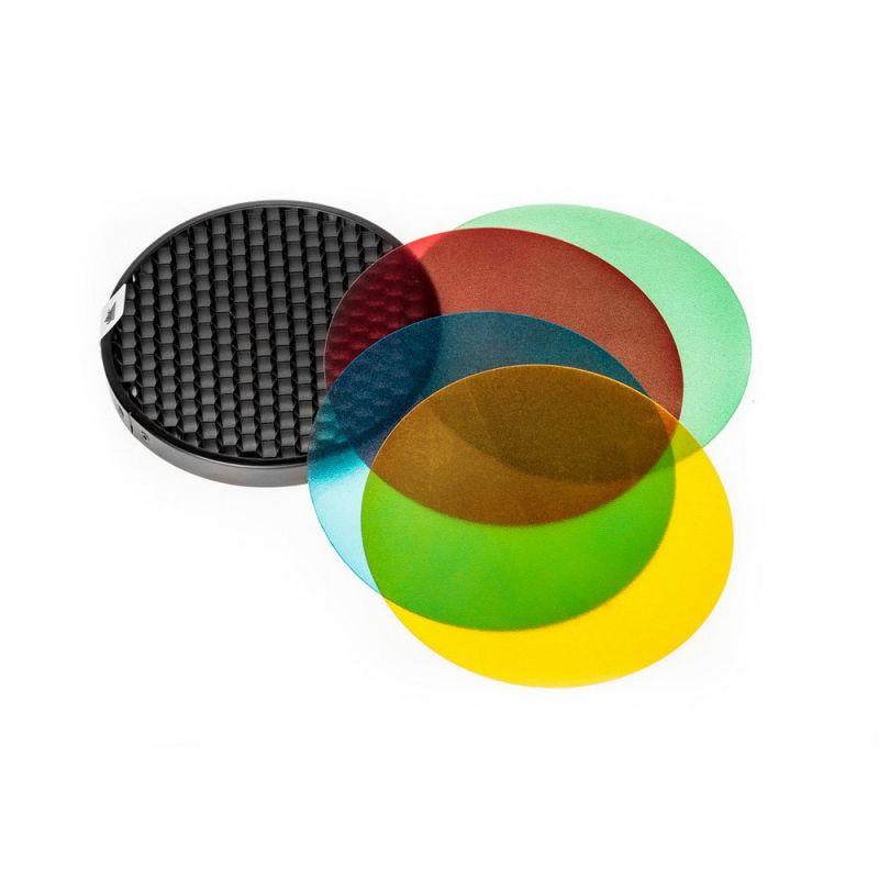Quadralite Reporter kit filtres couleurs en gélatine + grille nid d'abeille pour flash torche AD180/AD360