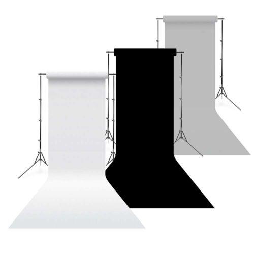 Savage Pack PRO 3x fonds de studio papier 1,35 x 11m Blanc, noir et gris