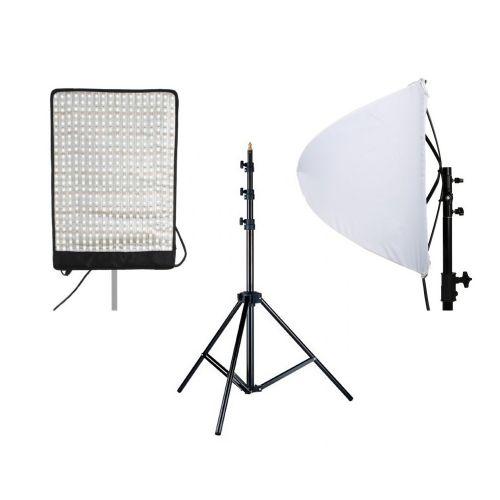 Kit Panneau flex LED bicolore 50w RX-12TD + dôme diffuseur et pied d'éclairage