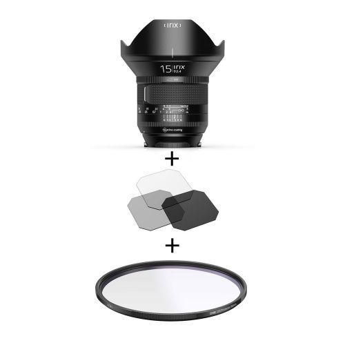 Irix Firefly objectif 15 mm f/2.4 Nikon + filtre UV Edge 95 mm + filtres gélatines