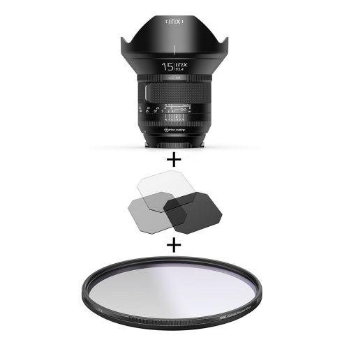 Irix Firefly objectif 15 mm f/2.4 Pentax K + filtre Edge polarisant 95 mm + filtres gélatines