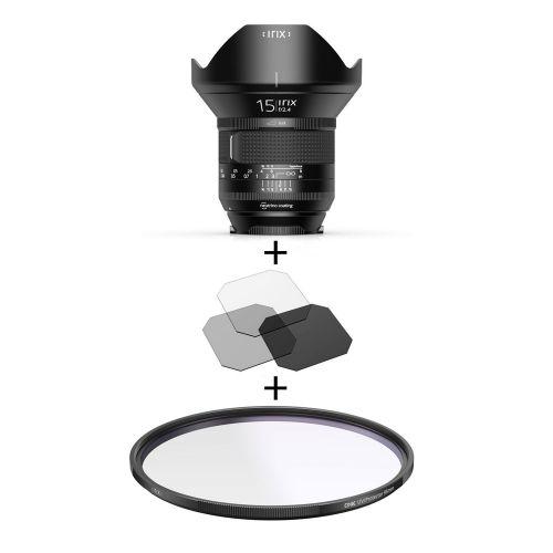 Irix Firefly objectif 15 mm f/2.4 Pentax K + filtre UV Edge 95 mm + filtres gélatines