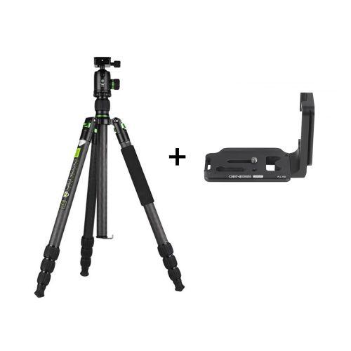 Genesis Base kit trépied C5 + rotule BH-40 (vert) + Plateau en L PLL-70D pour Canon 70D