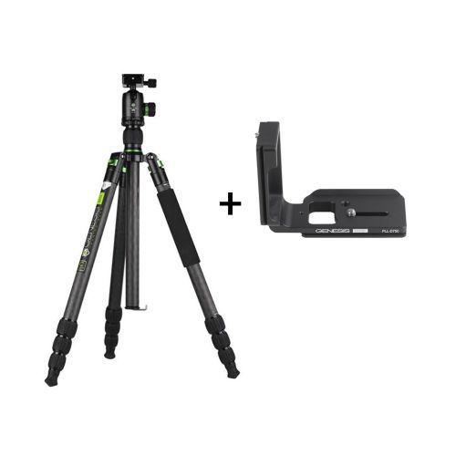 Genesis Base kit trépied C5 + rotule BH-40 (vert) + Plateau en L PLL-D750 pour Nikon D750