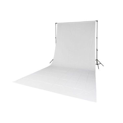 Quadralite Fond de studio en mousseline blanc 2,85x6m + 2x pieds + barre