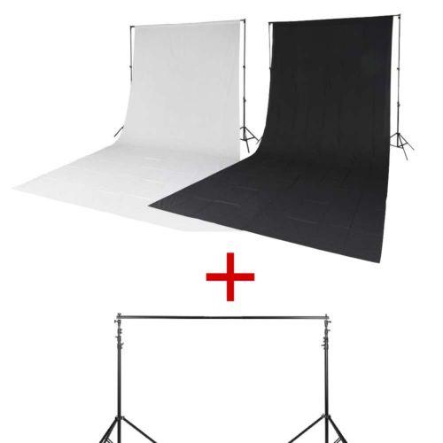 Quadralite Kit 2 x fond de studio en mousseline blanc/noir + 2x pieds + barre