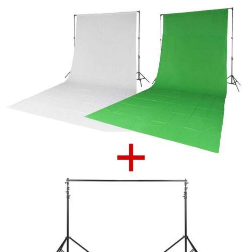 Quadralite Kit 2 x fond de studio en mousseline blanc/vert+ 2x pieds + barre
