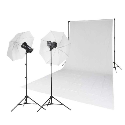 Quadralite Kit 1 x fond en mousseline + 2 x flashs de studio