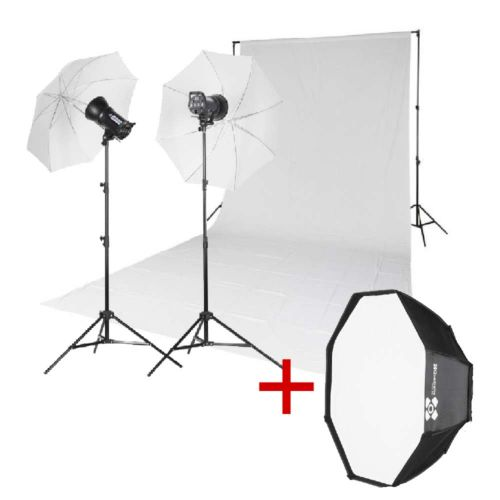 Quadralite Kit 1 x fond en mousseline + 2 x flashs + octa box