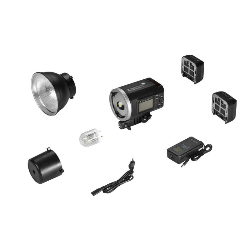 Kit : Flash de studio Quadralite Atlas 600 TTL + batterie de rechange + bol 18 cm