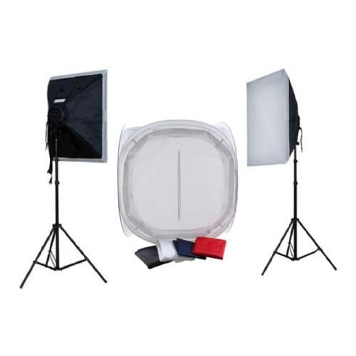 Falcon Eyes Kit packshot avec tente de diffusion 75x75x75 et éclairage 1600W