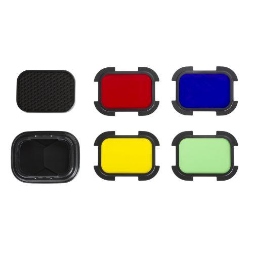 Quadralite Reporter 200 TTL A-type Kit coupe-flux et filtres colorés